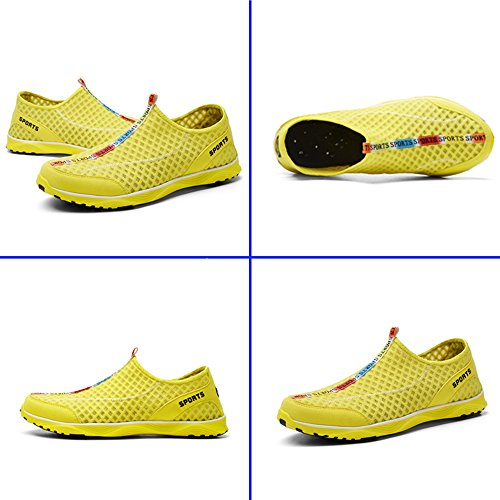 Men's Lightweight Breathable Quick Drying Mesh Slip On Water Shoes Yellow GNh4mQD
