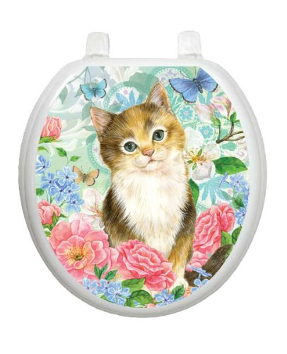 Soft Kitty Toilet Tattoo TT-1092-R Round Pet Cat Kitten Lena Fiore'