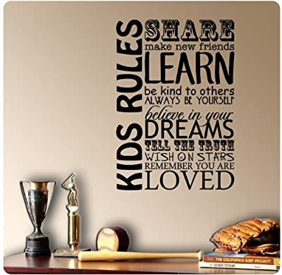 Kids Rules Wall Decal Sticker Art Mural Home Décor Quote