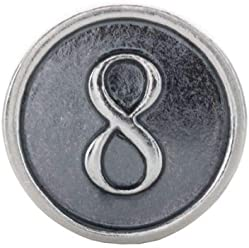 Sterling Silver Numeral #8 Cylinder Bead Charm