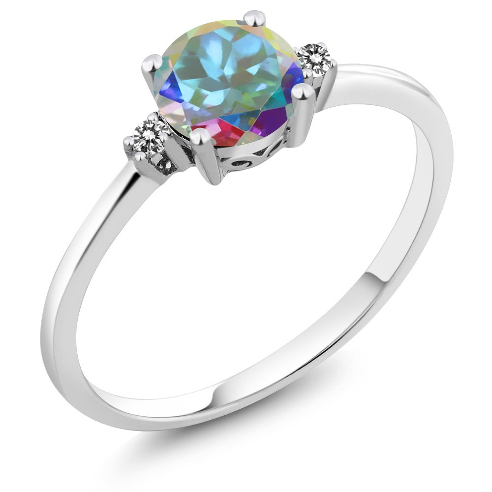 Gem Stone King 10K White Gold Engagement Solitaire Ring set with 1.03 Ct Round Mercury Mist Mystic Topaz and White Diamonds (Size 7)