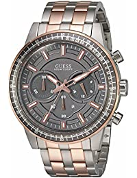 GUESS Men's U0801G2 Sporty Rose Gold-Tone Stainless Steel Watch with Chronograph Dial and Pilot Buckle