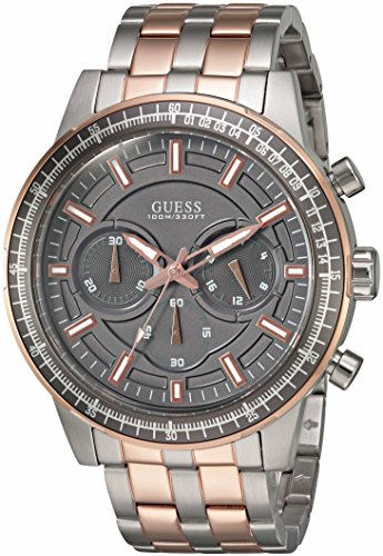 Dial Buckle Stainless Steel (GUESS Men's U0801G2 Sporty Rose Gold-Tone Stainless Steel Watch with Chronograph Dial and Pilot Buckle)
