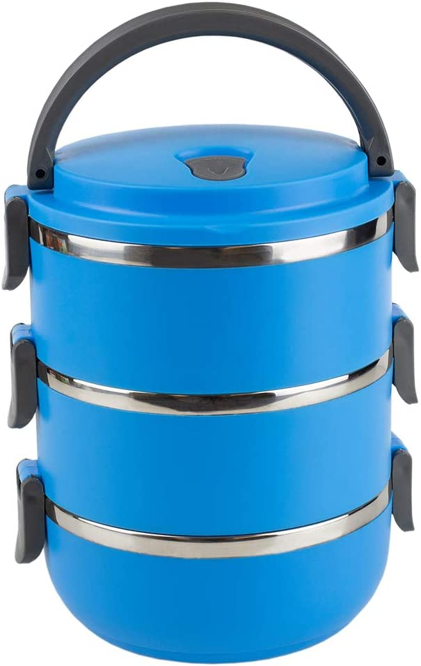 Home Basics 3 Tier Leak-Proof Stainless-Steel Lunch, Insulated Tiffin Food Container Storage Box Carrier for Adult Kids Work Students, Blue