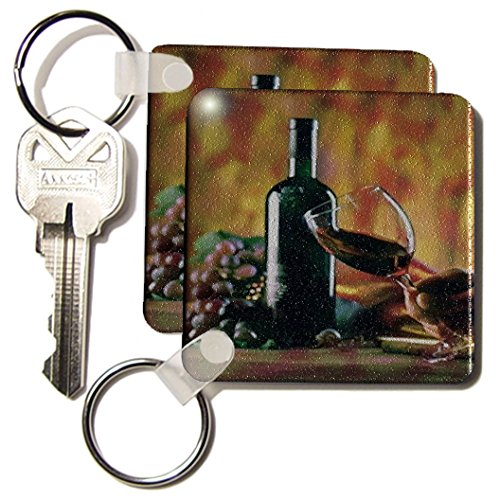 3dRose Glass of Wine in Napa - Key Chains, 2.25 x 4.5 inches, set of 2 (kc_36496_1)