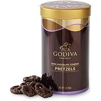 Godiva Chocolatier Dark Chocolate Covered Pretzels, Stocking Stuffer, 1 pound can (approx 60 pieces)