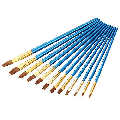 AOOK Artist Paint Brushes Superior Hair Artists Flat Round Point Tip Paint Brush Set for Watercolor Acrylic Oil Painting Supplies (12 Flat Point)