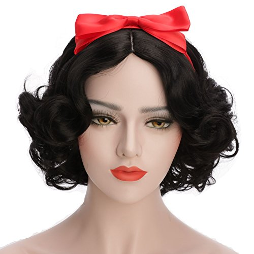 Snow White Wigs (Karlery Women's and Kids Short Bob Wave Black Cosplay Wig Halloween Costume Wig Anime Party Wig)