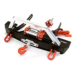 Integy RC Model Hop-ups C26279BLACKRED V2 Realistic High Torque Winch (Toy) w/ Scale Front Bumper for Axial 1/10 SCX-10