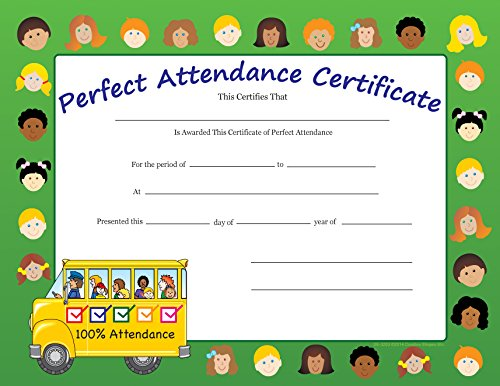 (Perfect Attendance Recognition Certificates)