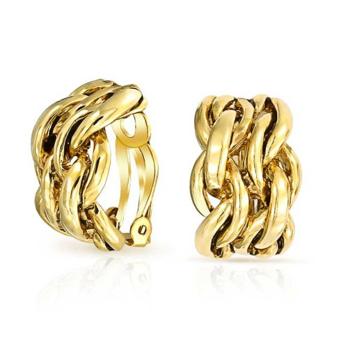 Bling Jewelry Gold Plated Alloy Double Chain Links Half Hoop Clip On Earrings