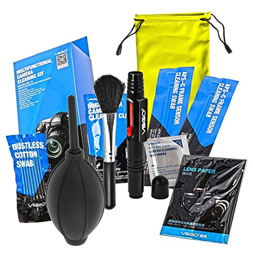 Camera Cleaning Kit Essential Package for DSLR and Sensitive Electronics: APS-C Sensor and Cotton Swab, Lens Pen, Lens Brush, Wet Wipes, Lens Cleaning paper, Microfiber Cloth, Air Blower