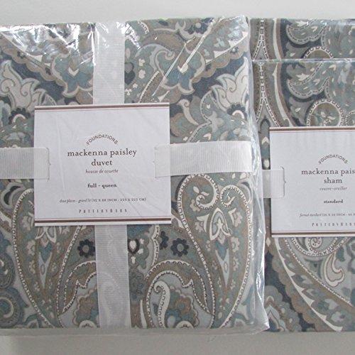 Pottery Barn MACKENNA PAISLEY Duvet Full/Queen & Two Standard Shams Blue NWT Blue Barn Bedding