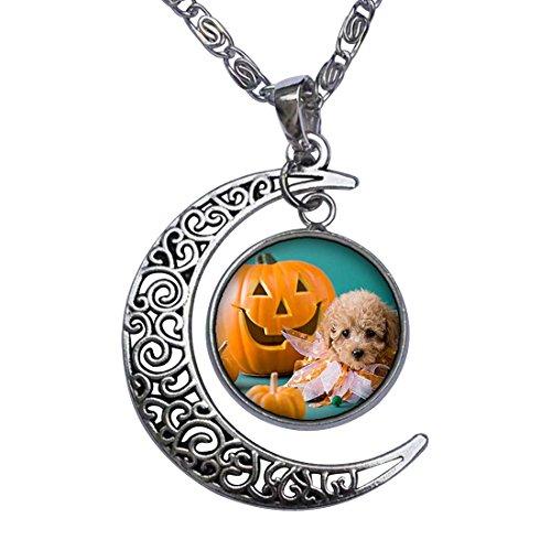 Halloween cute dog Jack O lantern Crescent Moon Galactic Universe Glass Cabochon Pendant Necklace