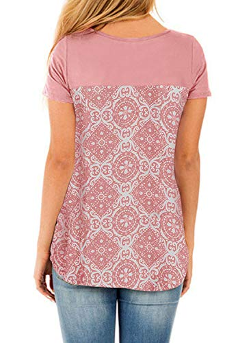 - HOTAPEI Ladies Womens Shirts Summer Tops Casual Cute Contrast Color Block Printed Criss Cross Cotton Loose Short Sleeve Tee Shirts Tunic Top Pink XL