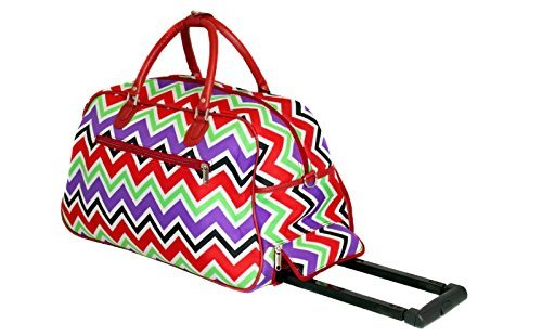 DH Girls Red Chevron Duffel Bag, Carry On Luggage, Zig Zag Duffle, Purple Green