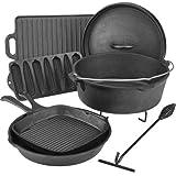 Outdoor Gourmet Cast Iron, Cookware Set in a Box
