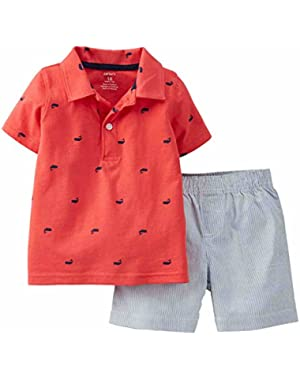 Carter's Infant Boys 2 Piece Red Whale Polo T-Shirt & Striped Shorts