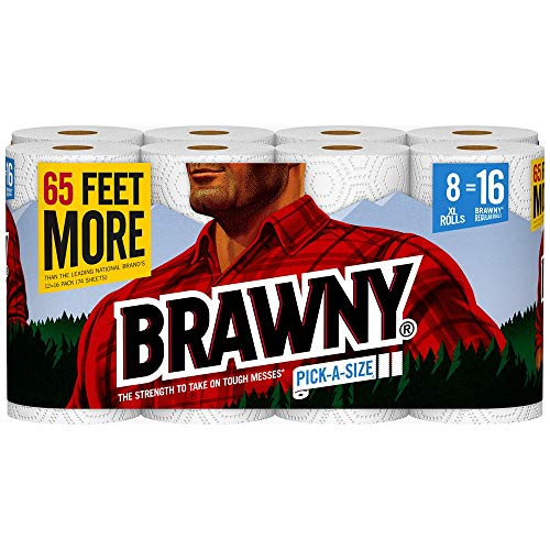 Brawny Paper Towels, 8 XL Rolls, Pick-a-Size, 8 = 16 Regular Rolls