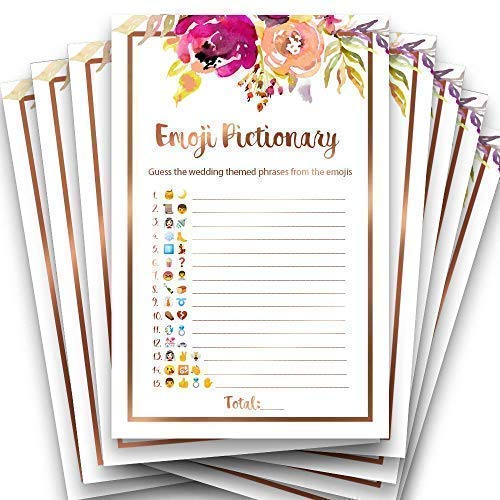 - Bridal Emoji Pictionary | Floral Rustic Rose Gold | Unique and Fun Bridal Shower Game for Guests | Set of 25 | Bridal Shower, Engagement, Bachelorette Party, Wedding | Large Size 8.5 x 5.5