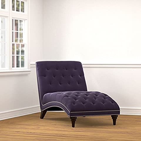 Living Room Furniture/ Chaise Lounges, Portfolio Palermo Plum Purple Velvet Snuggler Polyester Chaise - Assembly Required 340CL-VBL79-284. 38.5 in High x 32 in Wide x 60 in (Chaise Purple)