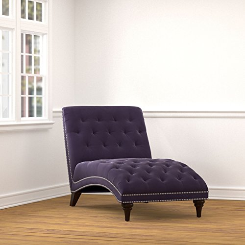 Living Room Furniture/ Chaise Lounges, Portfolio Palermo Plum Purple Velvet Snuggler Polyester Chaise - Assembly Required 340CL-VBL79-284. 38.5 in High x 32 in Wide x 60 in Deep