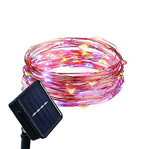 Waterproof Outdoor Solar Powered Copper Wire String Lights Starry Fairy Decorative Rope Lighting for Home Patio Lawn Yard Garden Gate Wedding Party Christmas Decor Decorations 16ft 50 Mini Color LEDs from CANDLE CHOICE
