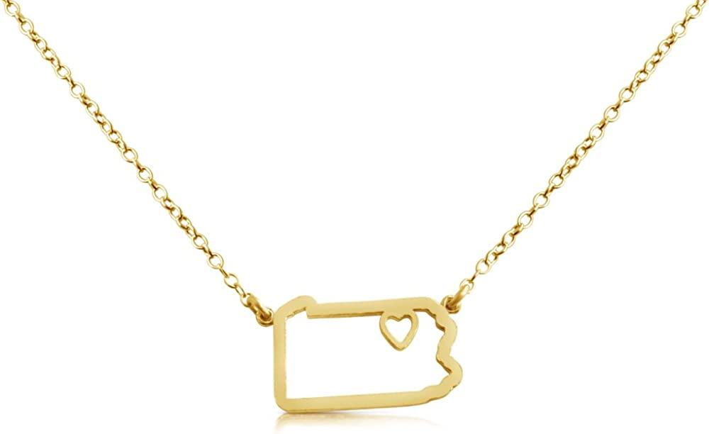 14k Gold Plated Over 925 Sterling Silver Small Pennsylvania -Home is Where The Heart is- Home State Necklace (14 Inches) Holiday Gift Jewelry Gift