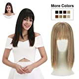 REECHO Clip in Bangs with Scalp Synthetic Straight Hair Extensions Hair Closure Piece Hairpieces 3 Clips in for Women - 27/613