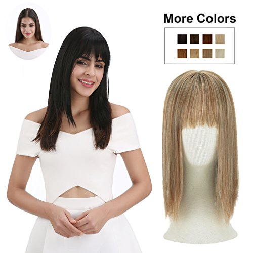 REECHO Clip in Bangs with Scalp Synthetic Straight Hair Extensions Hair Closure Piece Hairpieces 3 Clips in for Women - 27/613 by REECHO