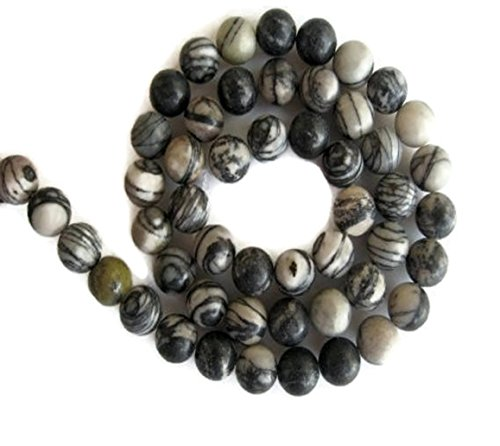 Zebra Agate Large Hole Gemstone Beads, 8mm Zebra Agate Smooth Round Mala Beads, Drill Size 1mm, 15 Inch Strand, GDS597
