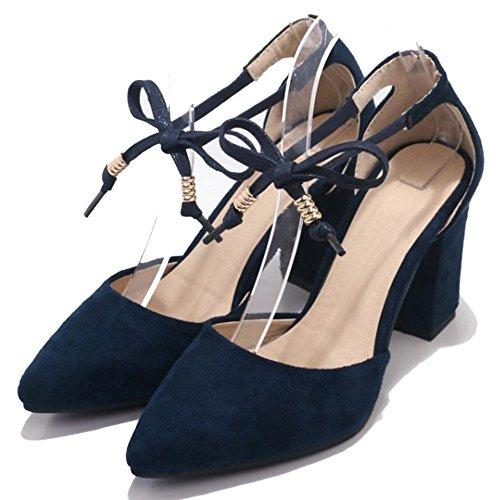 Blue Verano RAZAMAZA Mujer Bombas Tacon Zapatos Ancho v8FxYq8