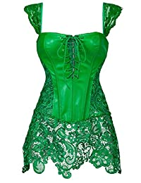 Gothic Burlesque Corset Dress Lace Sexy Party Skirt Faux Leather Zipper Bustier Green 3XL