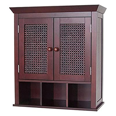Stunning Espresso Bathroom Wall Cabinet or Medicine Cabinet with Cane Wicker Doors - This stunning espresso reddish brown medicine wall cabinet is both functional and beautiful. Dimensions: Dimensions: 22.5W x 8.5D x 24H It is designed with wicker cane doors to provide a very appealing update for any bathroom. - shelves-cabinets, bathroom-fixtures-hardware, bathroom - 51tD7kNCrOL. SS400  -