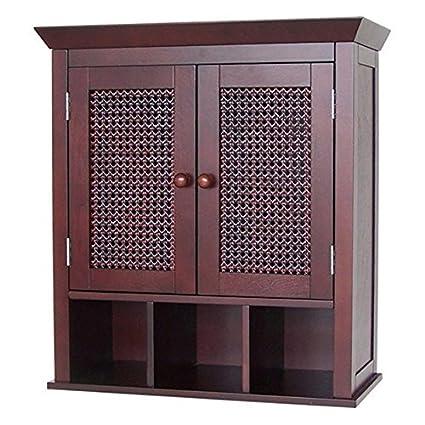 Stunning Espresso Bathroom Wall Cabinet Or Medicine Cabinet With Cane Wicker  Doors