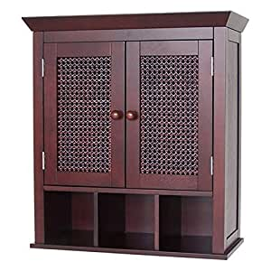 Stunning espresso bathroom wall cabinet or medicine cabinet with cane wicker doors for Espresso bathroom medicine cabinet