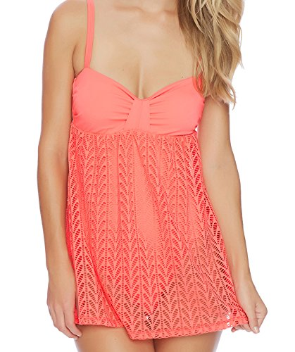 Nautica Women's Vineyard Crochet Soft Cup Swim Dress One Piece Swimsuit, Coral, L (Dresses For Women Nautica)