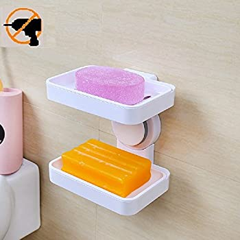 Fealkira Super Powerful Suction Cup Soap Dish Holder Wall Mounted For  Bathroom Shower Soap Holder Saver