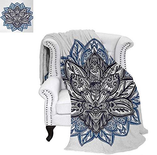 - Digital Printing Blanket Ethnic Paisley Petals Themed Lotus Flower Ethnic Boho Tattoo Illustration Summer Quilt Comforter 90