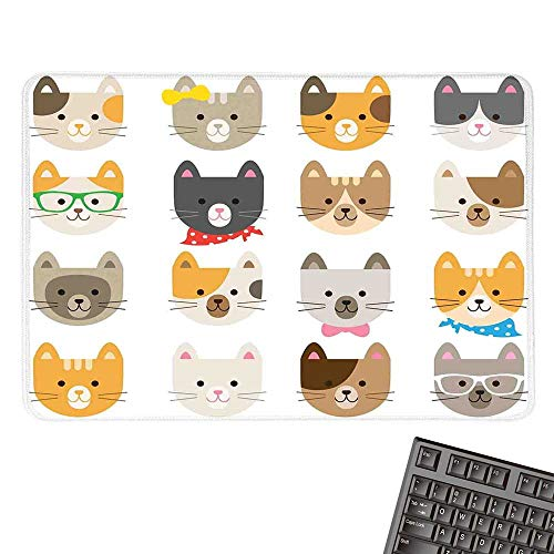 KidsOffice Mouse PadCats Costume with Glasses Bow Tie Bandanna Cartoon Art Craft Pattern Print Pets Animal Lovers PrintWaterproof Mice Pad 15.7
