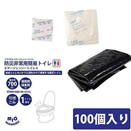 防災非常用簡易トイレA 凝固剤 消臭剤 PE袋3点 10個セット 家庭用 会社用 防災備蓄に 吸水700cc 悪臭成分を吸着 断水時も衛生的 (100) B07SYK6YNT  100