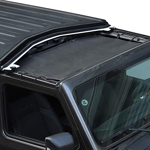 Voodonala Sunshade for Jeep JL Front Shade Mesh Top for 2018 Jeep Wrangler 2 or 4-Door JL JLU Unlimited Plain Black
