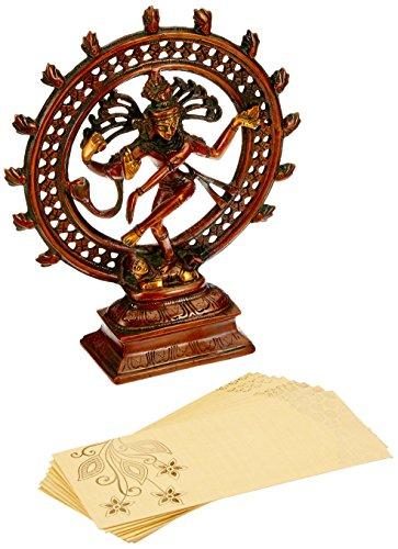 Aone India Shiva Statue Nataraja Idol, Nataraj Dancing Metal Natraj Antique Finish, Carved Hindu God Figurine Religious Brass + Cash Envelope (Pack of ()