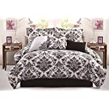 7 Piece Comforter Set with Embroidered Cushion, Queen, Black White Gray