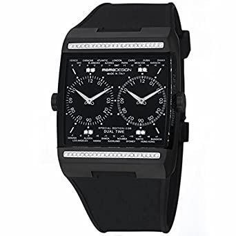 Momo Momo Design Dual Tech Schwarz Zifferblatt Diamant Gummi Dual Zeit Mens Watch MD077BK-D01BK-RB