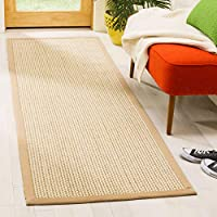 Safavieh Natural Fiber Collection NF475B Sisal and Wool Beige Runner (26 x 8)