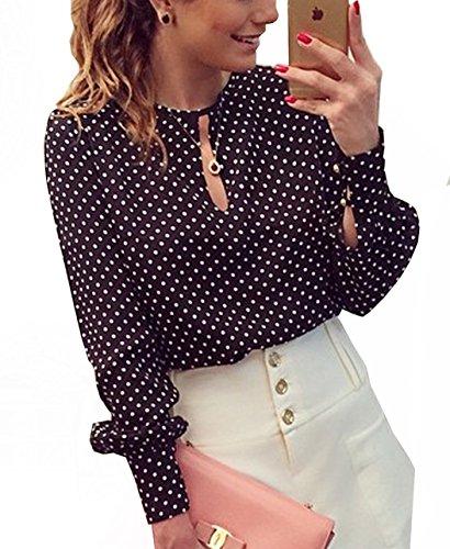 shirt Casual Sottile Tops Camicie Primavera Lungo Collo Shirts Lunga Donna Maglie Nero1 Blouse Rotondo A Manica Cavo T Moda Eqf7Tznf