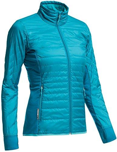 Icebreaker Women's Helix Long Sleeve Zip Coat, Alpine/Aquamarine/Aquamarine, Medium