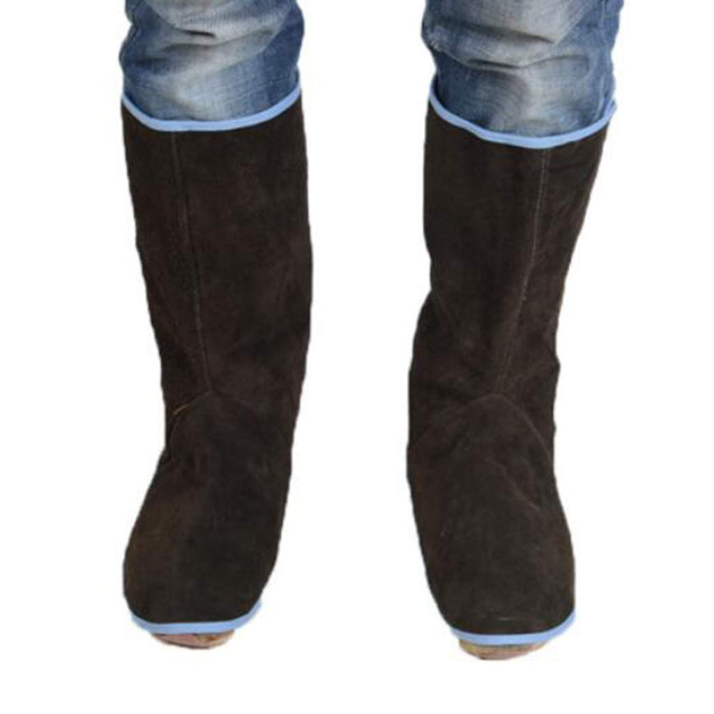1 Pair Welding Spats Shoes Cover 12Inch Long Cowhide Shoe Protector