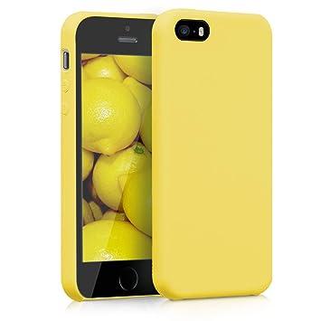 kwmobile Funda para Apple iPhone SE / 5 / 5S - Carcasa de TPU para teléfono móvil - Cover trasero en amarillo mate